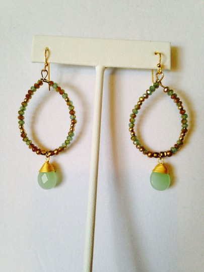 Panacea Cache NWOT Faceted Shades Of Mint Crystals & Briolette Earrings