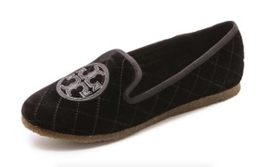 Tory Burch Slippers Quilted Velvet Smoking Black Flats
