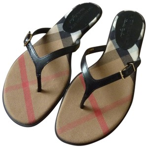 Burberry Logo Leather Black Sandals