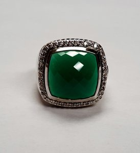 David Yurman Green Onyx and Diamond Pave Silver Albion Ring
