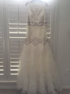 Sue Wong Ivory Polyester / Nylon / Genuine Ostrich Feathers Beaded Gown Vintage Wedding Dress Size 14 (L)