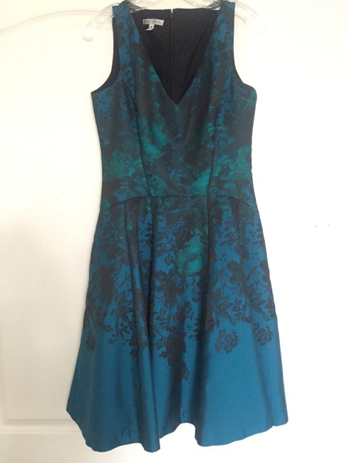 Maggy London Blue Green Floral Jacquard Fit And Flare Teal