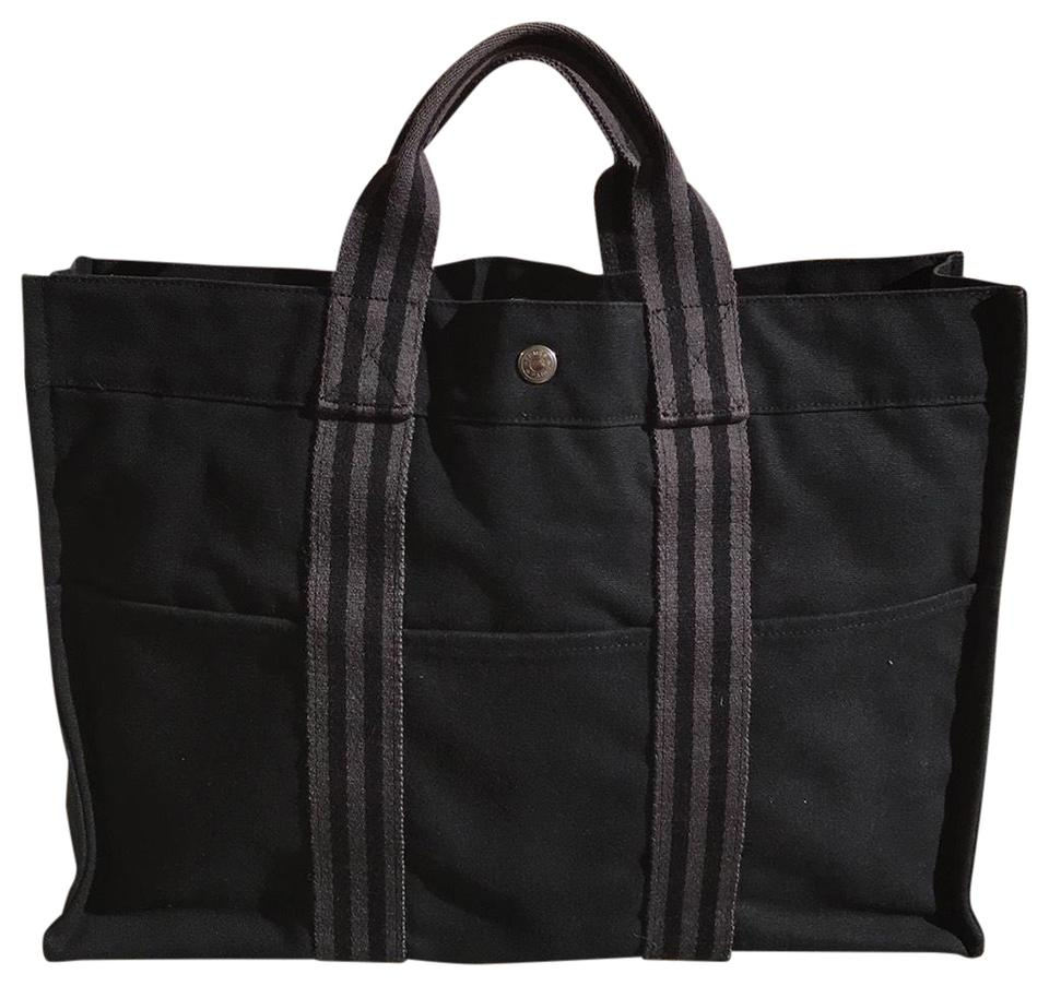 Hermès Fourre Tout Mm Black with Grey Stripes Canvas Tote - Tradesy 80f54ad633