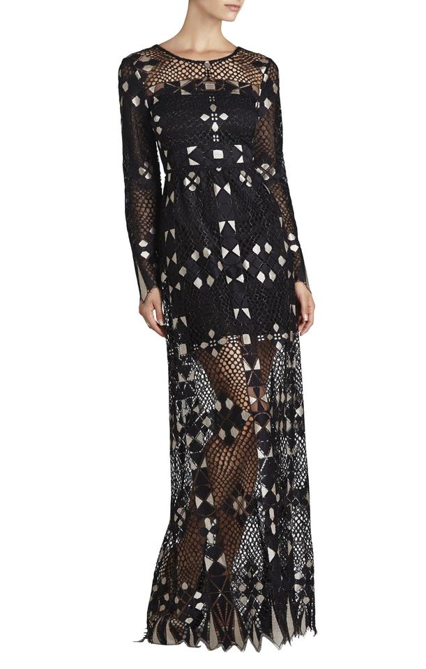 acad90319fe BCBGMAXAZRIA Black Taliah Long-sleeve Maxi Long Cocktail Dress Size ...