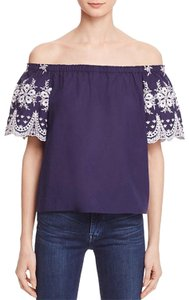 Beltaine Embroidered Sleeves Off-the-shoulder Scalloped Trim White Trim Top Navy