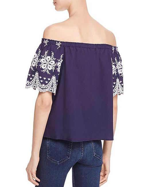 Beltaine Embroidered Sleeves Off-the-shoulder Scalloped Trim White Trim Top Navy Image 1