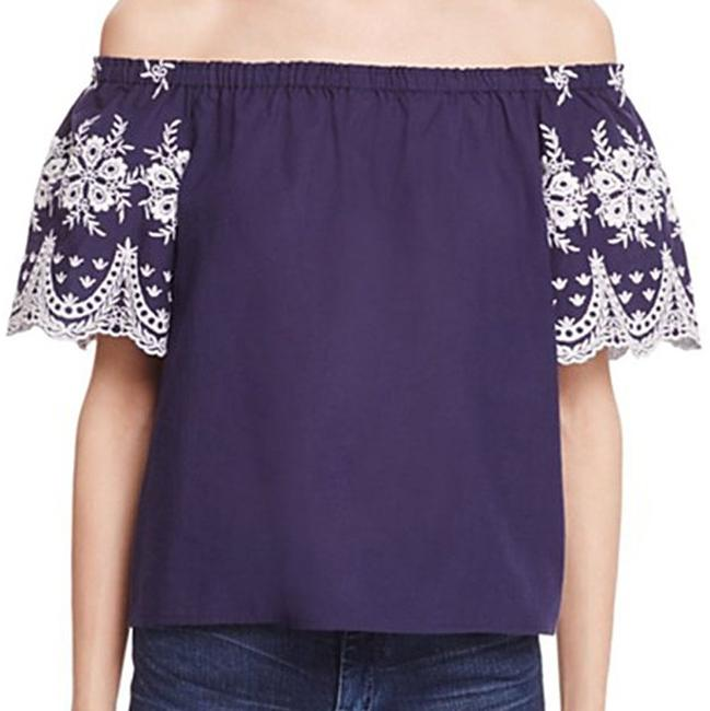 Beltaine Embroidered Sleeves Off-the-shoulder Scalloped Trim White Trim Top Navy Image 2