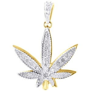 Jewelry For Less 10K Yellow Gold Diamond Mini Marijuana Leaf Plant Pendant Charm .60 Ct