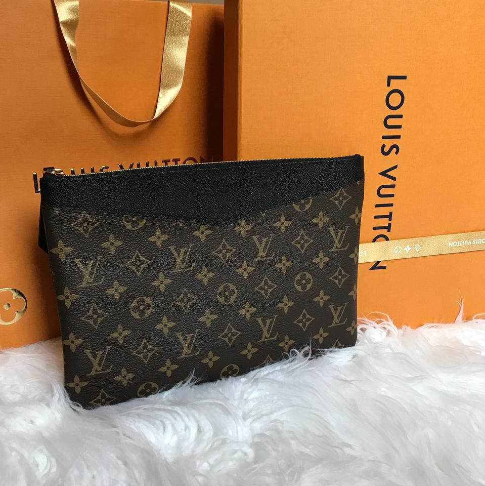 c2a7c28761 Louis Vuitton Daily Pouch Monogram M62048 Brown / Black / Noir Coated  Canvas & Cowhide Leather Clutch