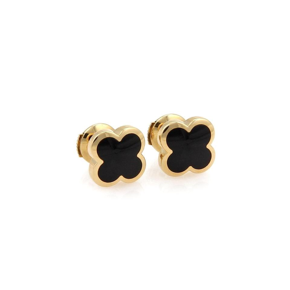 Van Cleef Arpels Pure Alhambra Onyx Stud Earrings In 18k Yellow Gold W Cert