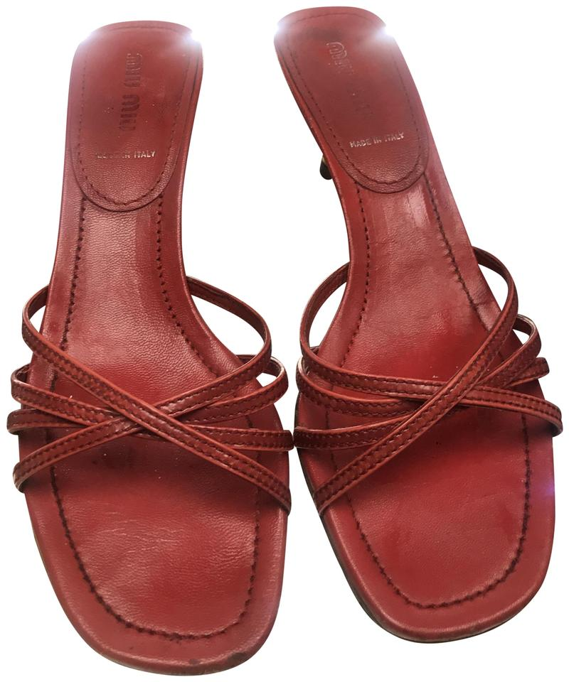 64a1ee0eee31 Miu Miu Red Leather Slip On Strappy Open Toe Sandals Size US 7.5 ...