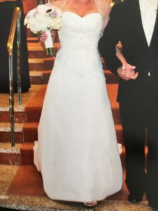 Mori Lee Ivory Satin with Chiffon Overlay By Madeline Gardner Traditional Wedding Dress Size 6 (S)