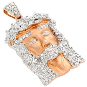 Jewelry For Less Real Diamond Micro Mini Jesus Face Pendant 10K Rose Gold 0.25 Ct Charm