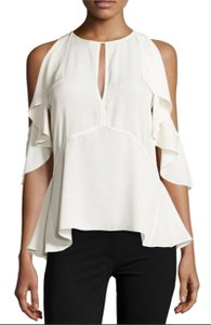 Theory Cold Shoulder Ruffle Silk Top White