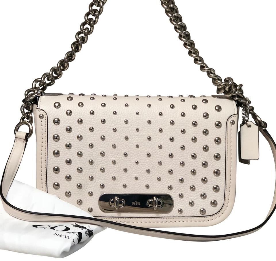 9adbe2ece6 Coach Swagger 57139 Pebble Ombre Rivets Chain White Leather Shoulder ...