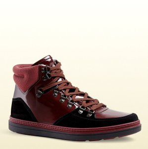 Gucci Dark Red Men's Suede Contrast Combo High-top 368496 1078 Size 9.5 G / Us 10 Shoes