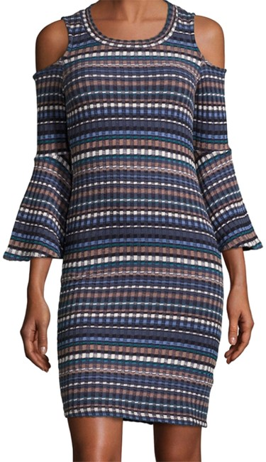 Item - Blue and Brown Bell Sleeve Nomadic Rib-knit Short Night Out Dress Size 12 (L)
