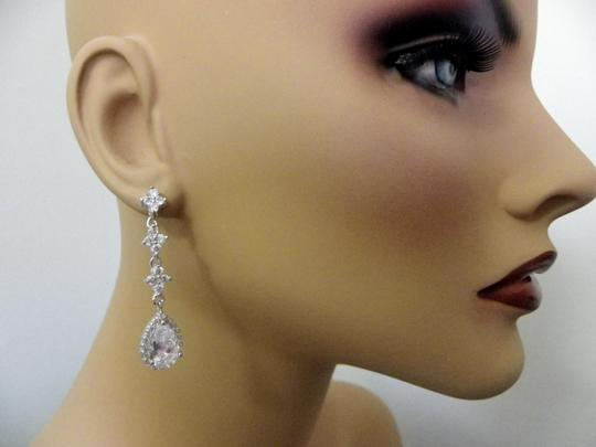 Clear Cubic Zirconia Teardrop Sparkly White Crystal Dangle Bridesmaid Gift Earrings Image 1