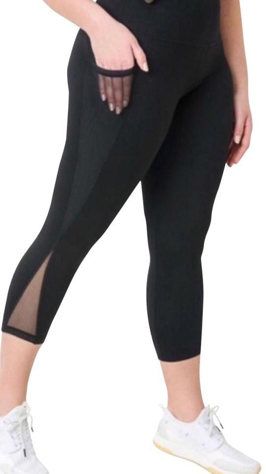 938a27dafcb Mono B XL PLUS SIZE Premium Black Mesh Yoga Pants with Pockets High Waist  ...