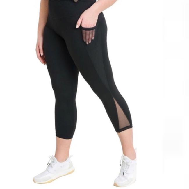 dalia + jade XL PLUS SIZE Premium Black Mesh Yoga Pants with Pockets High Waist