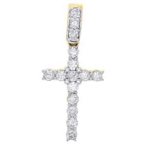Jewelry For Less 10K Yellow Gold Round Solitaire Diamond Cross Pendant Charm 0.62 Ct.