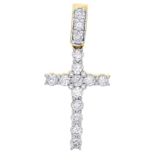 Preload https://img-static.tradesy.com/item/22913126/jewelry-for-less-yellow-gold-10k-round-solitaire-diamond-cross-pendant-062-ct-charm-0-0-540-540.jpg