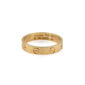 Cartier - Mini Love 18k Yellow Gold 3.5mm Band Ring Size 50 US 5.5 - w/Cert.