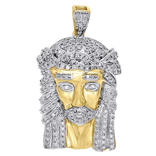 Jewelry For Less 10K Yellow Gold Round Diamond Jesus Pendant Mens Pave Charm 0.75 Ct.
