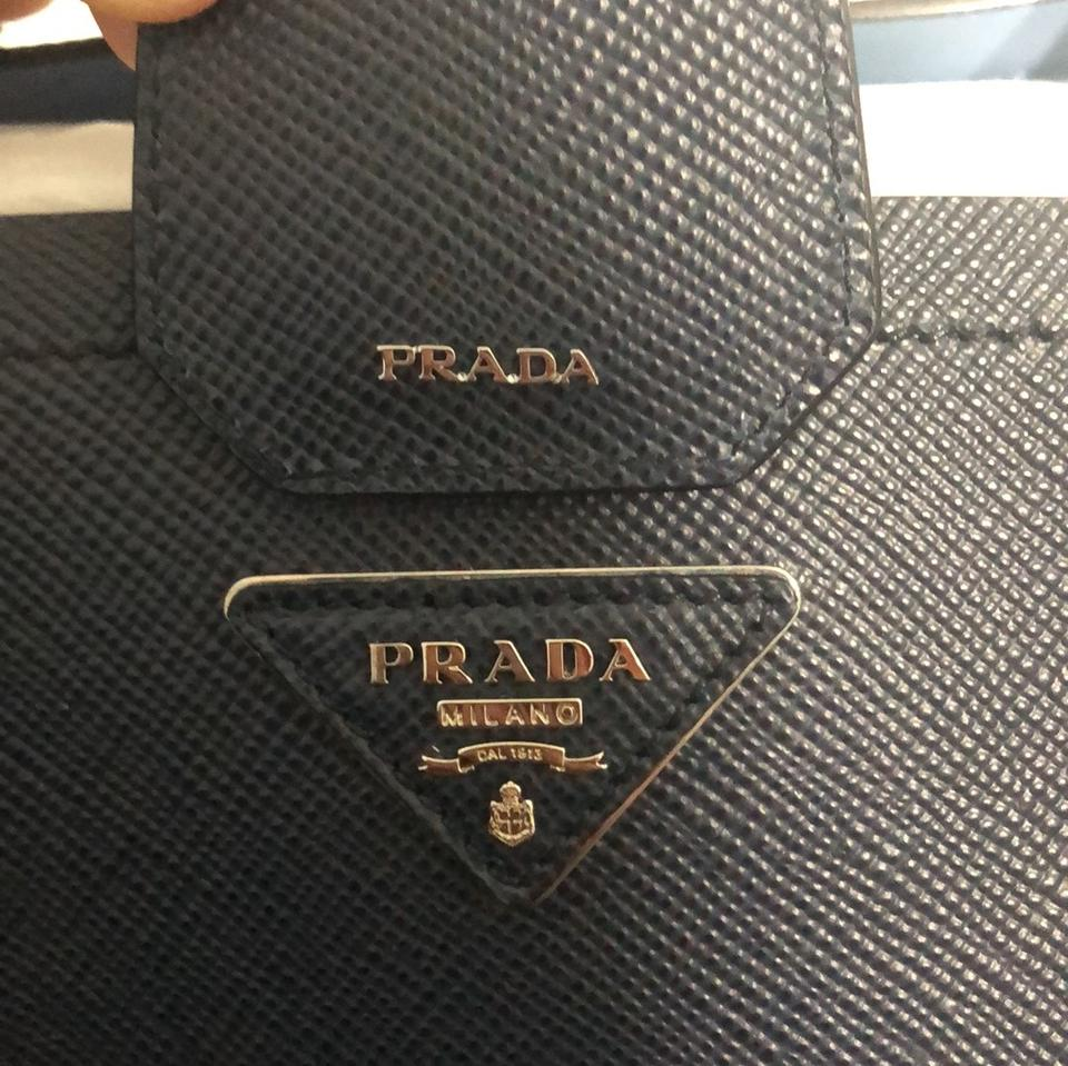 fe528a36b67876 Prada Tote in Navy Blue and Sky Blue Baltico/Astrale Image 11.  123456789101112