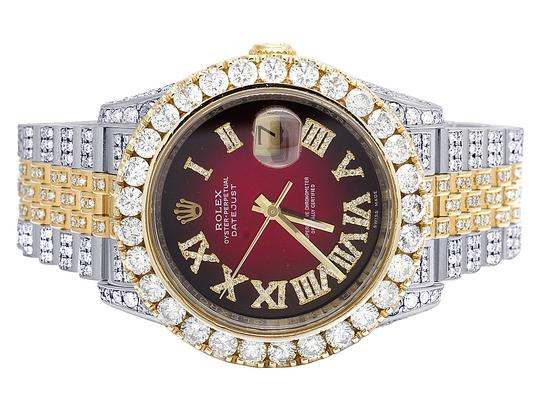 Rolex Datejust 36MM 116233 18K/ Steel Two Tone Full Iced Diamond Watch 22 Ct
