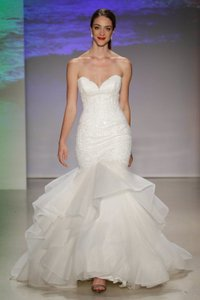 Alfred Angelo Ivory Lace Pearl Horsehair Disney's Ariel Mermaid Weddingown In Sexy Wedding Dress Size 10 (M)