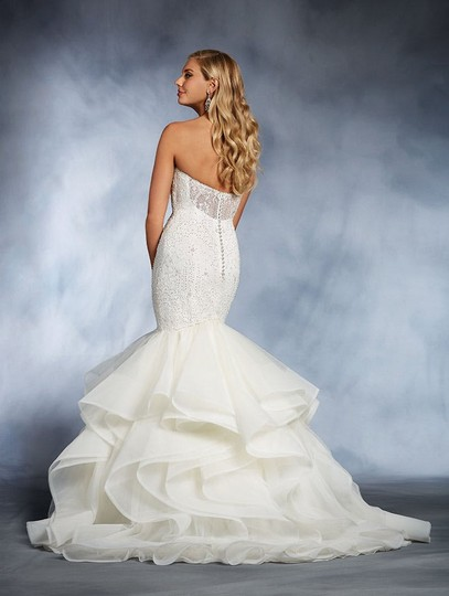 Alfred Angelo Ivory Lace Pearl Horsehair Disney's Ariel 264 Mermaid Weddingown In Sexy Wedding Dress Size 10 (M)