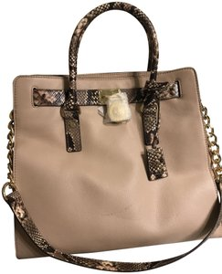 Michael Kors Gold North South Satchel Snakeskin Snake Tote in Blush Khaki Pink