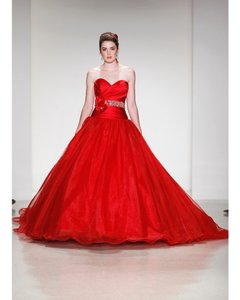 Alfred Angelo Red Organza Satin Disney Fairytale Gown Snow White Scarlet Formal Wedding Dress Size 8 (M)