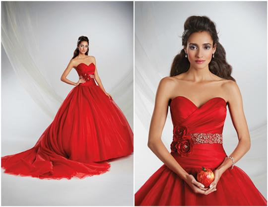 Alfred Angelo Red Organza Satin Disney Fairytale Gown 250 Snow White Scarlet Formal Wedding Dress Size 8 (M)