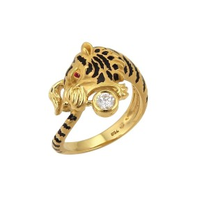 Carrera y Carrera Bestiario Diamond Ruby & Enamel 18k Gold Tiger Ring