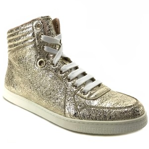 Gucci 409793 High Top Metallic Leather Leather Platino Athletic
