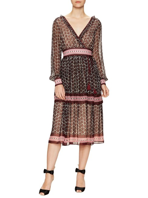 Item - Red Brown Floral Tile Mid-length Casual Maxi Dress Size 6 (S)