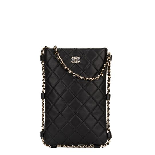 Chanel Clutch Quilted With Chain Black Lambskin Leather
