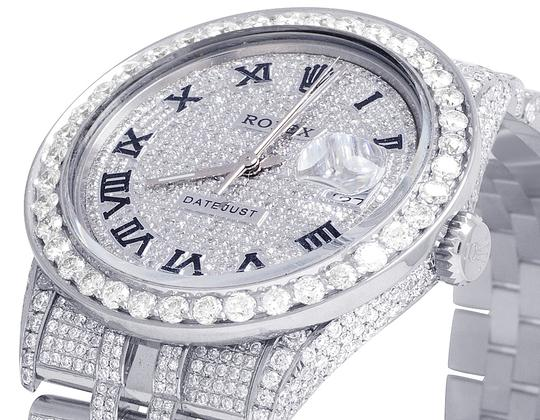 Rolex Datejust 36MM 16014 S.Steel Iced Out Pave Dial Diamond Watch 14.75 Ct