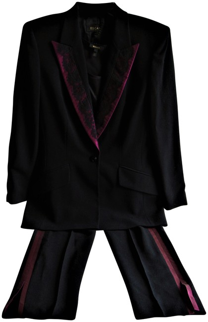 Preload https://item1.tradesy.com/images/escada-black-upscale-four-piece-suit-jacketpantsskirt-and-shell-36us-pant-suit-size-6-s-22913585-0-1.jpg?width=400&height=650