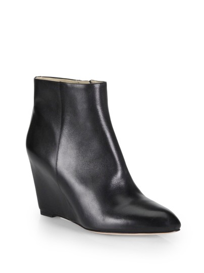 B Brian Atwood Leather Wedge Almond Toe Pointed Toe Black Boots