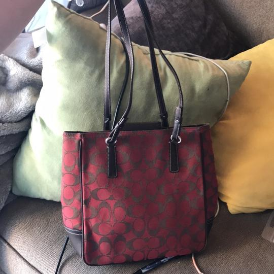 Preload https://item5.tradesy.com/images/coach-classic-redbrown-signature-monogrammed-6090-redbrown-canvas-tote-22913609-0-0.jpg?width=440&height=440
