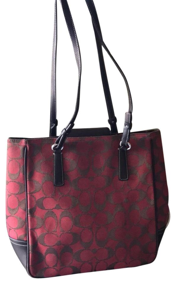 Coach ~ Classic Red Brown Signature Monogrammed 6090 Red Brown ... a352791b4fbb7