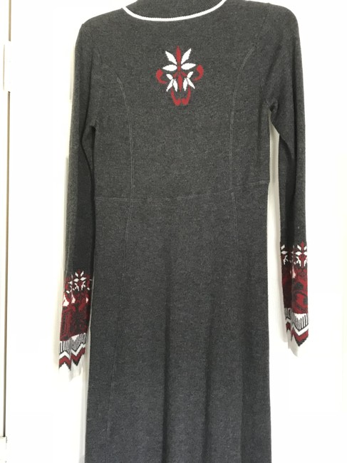 Athleta short dress Gray/red/ivory Longsleeve Sweater Zipper Front Fitted on Tradesy