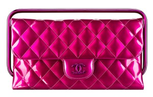 Chanel Patent Leather Quilted Cc Top Handle Metallic Pink Clutch