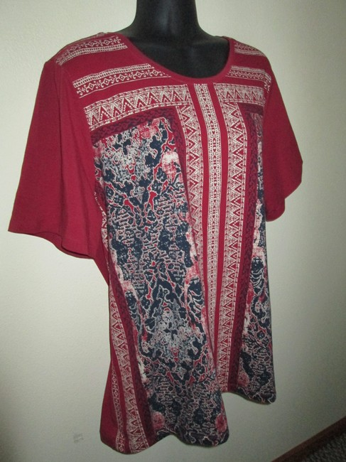 CJ Banks Handkerchief Plus Size 1x Spring Summer T Shirt Multicolored
