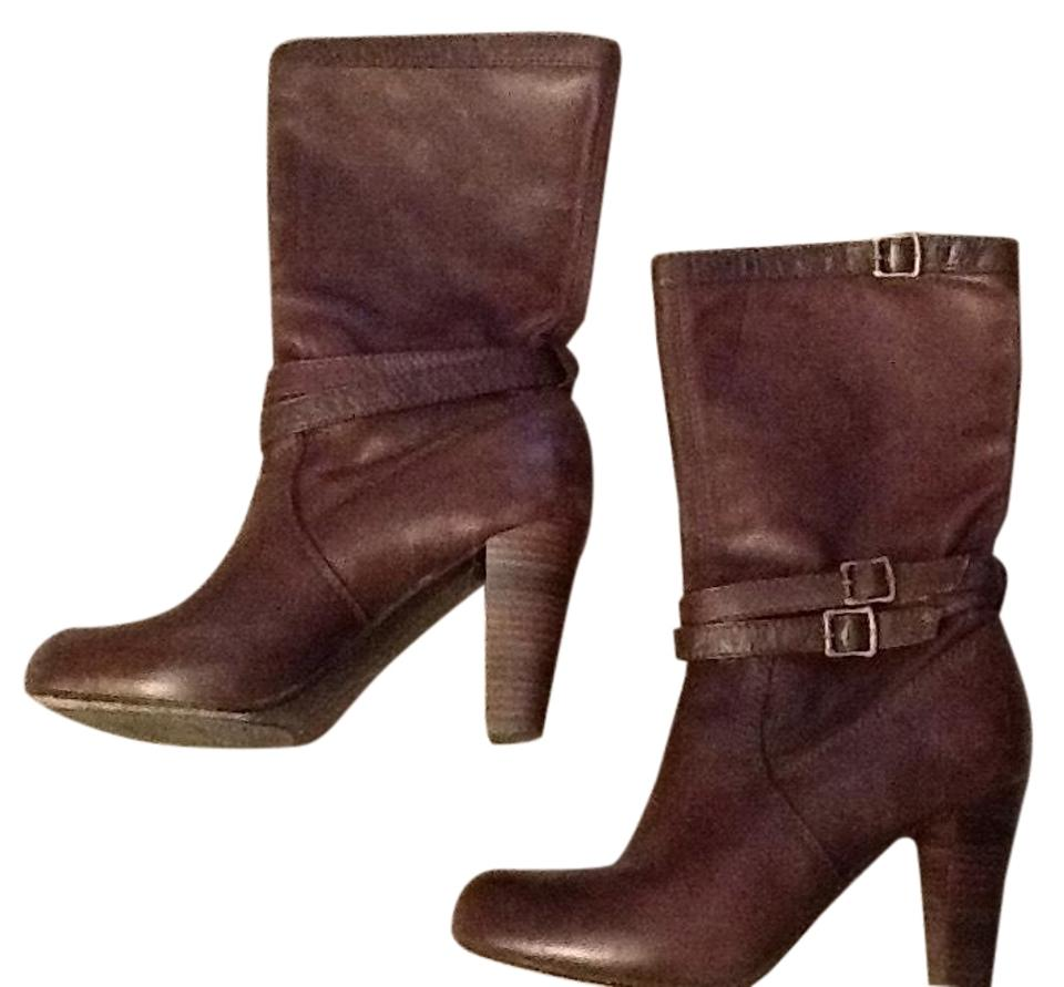 Frye Brown Leather Harness Stacked Heel Leather Brown Boots/Booties c85406