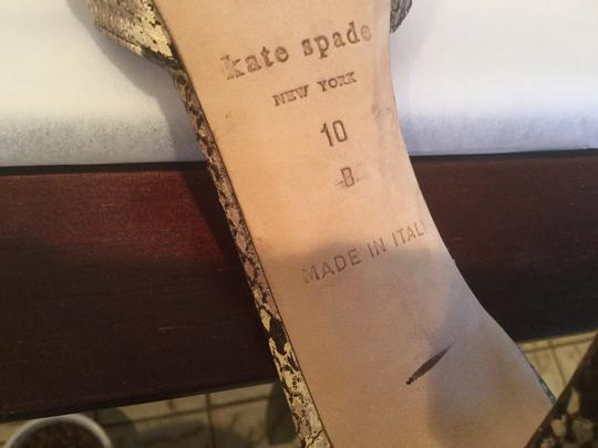 Kate Spade Reptile Open Sides Made Italy Tans and browns all leather dorsey style Italian Sandals