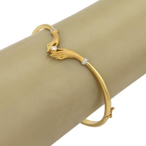 Carrera y Carrera Diamond Two Hands 18k Gold Bangle Bracelet